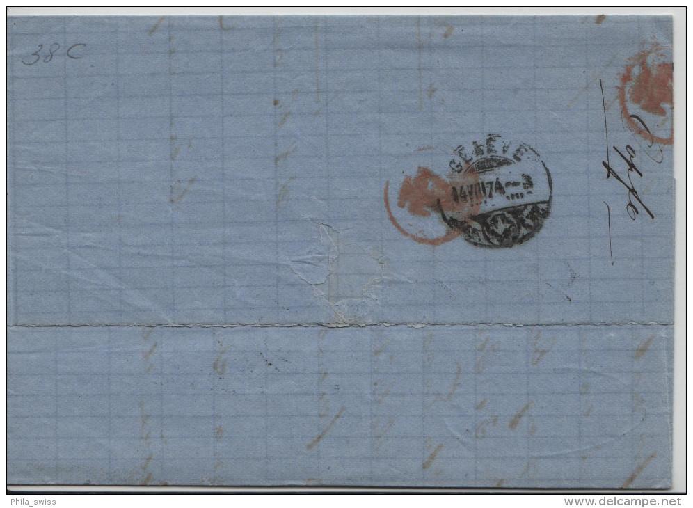 1874 Sitzende Helvetia/Helvétie Assise 38/30 - Stempel: Morges Nach Geneve 14.VIII.74 - Lettres & Documents