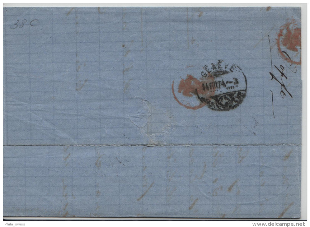 1874 Sitzende Helvetia/Helvétie Assise 38/30 - Stempel: Morges Nach Geneve 14.VIII.74 - 1862-1881 Sitzende Helvetia (gezähnt)