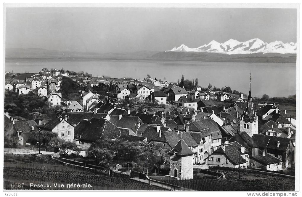 PESEUX → Vue Générale Anno 1937 - NE Neuenburg