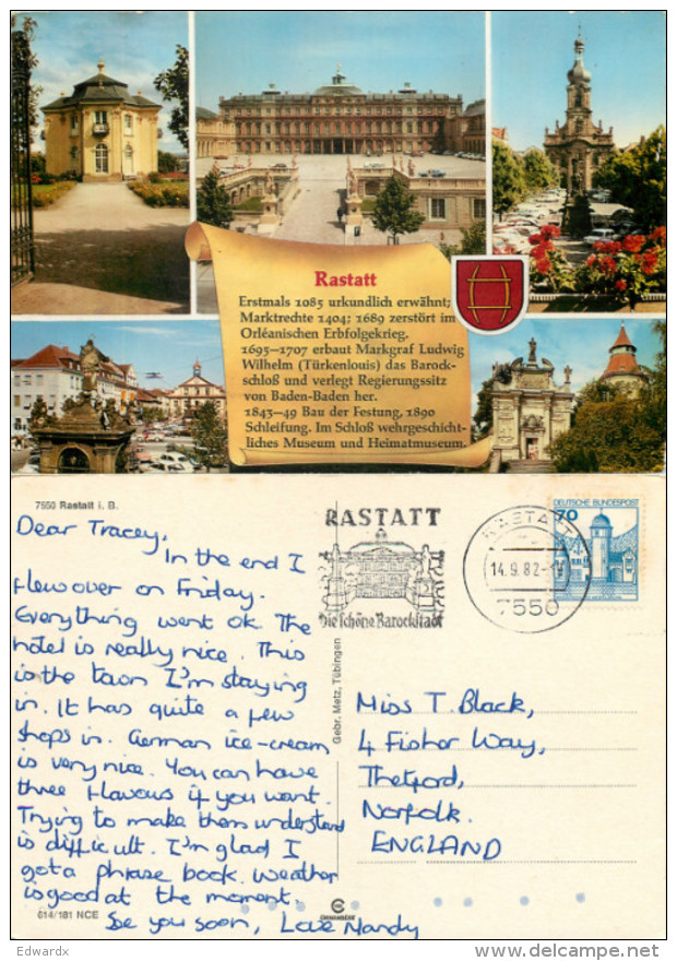 Rastatt, Germany Postcard Posted 1982 Stamp - Rastatt
