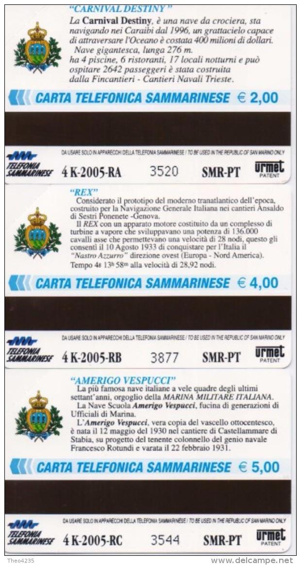 SAN MARINO  PHONECARD GREAT SHIPS 1st Serie-RSM 120,121,122-4000pcs-25/11/05-MINT - Saint-Marin