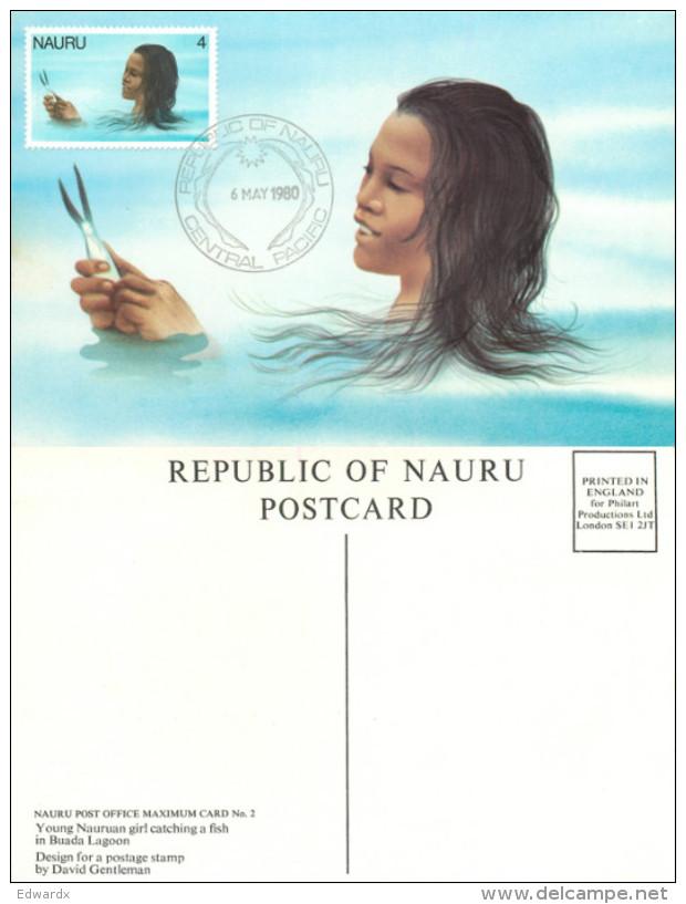 Maximum Card, Young Girl, Nauru Postcard Posted 1980 Stamp - Nauru