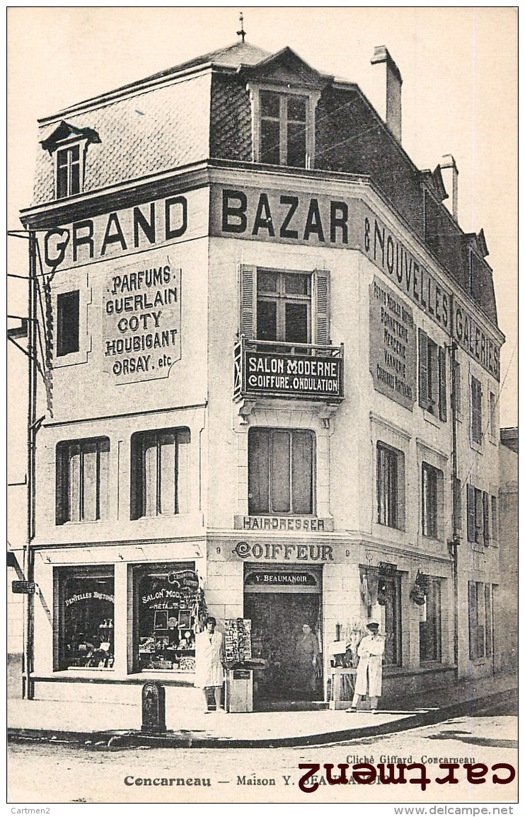 CONCARNEAU MAISON Y. BEAUMANOIR BAZAR PARFUMS GUERLAIN COTY SALON DE COIFFURE COIFFEUR DEVANTURE COMMERCE GIFFARD 29 - Concarneau