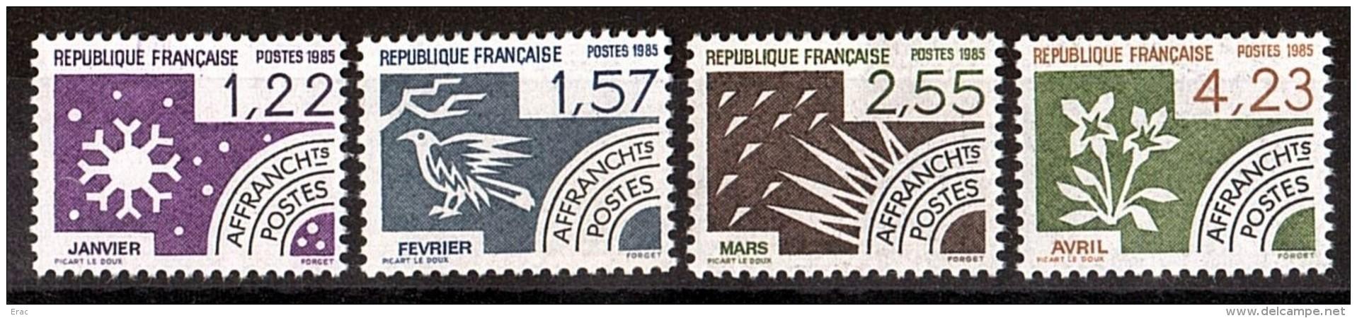 France -  1985 - Préoblitérés N° 186 à 189 - Neufs ** - Janvier, Février, Mars Et Avril - Préoblitérés