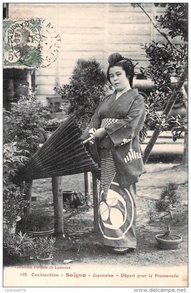 Cochinchine Saïgon Japonaise Départ Pour La Promenade  Asie Indochine Colonisation Circulée Timbre 1911 - Vietnam