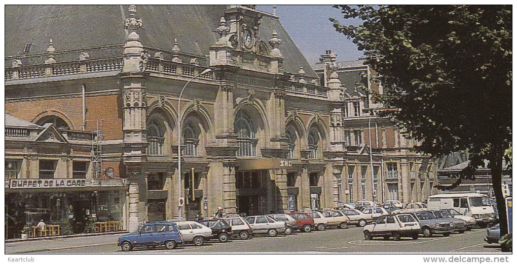 Valenciennes: RENAULT 4 & 5, OPEL ASCONA -C, PEUGEOT J9, CITROËN 2CV - Buffet De La Gare - (Nord, F) - Passenger Cars