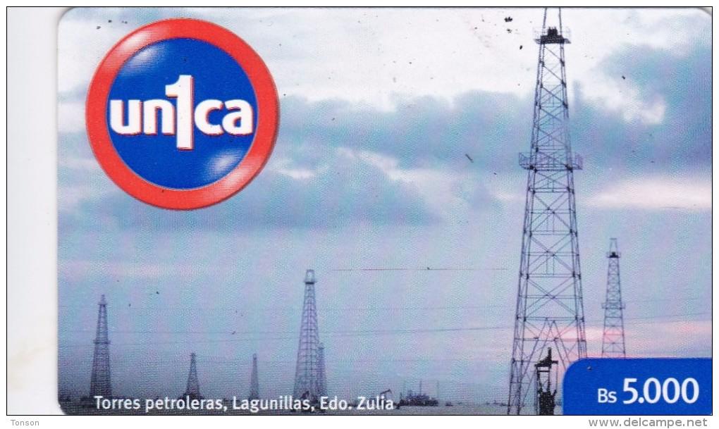 Venezuela, UNI1-0148, Oil Activities, Torres Petroleras, Lagunillas, Edo. Zulia, 2 Scans. - Venezuela
