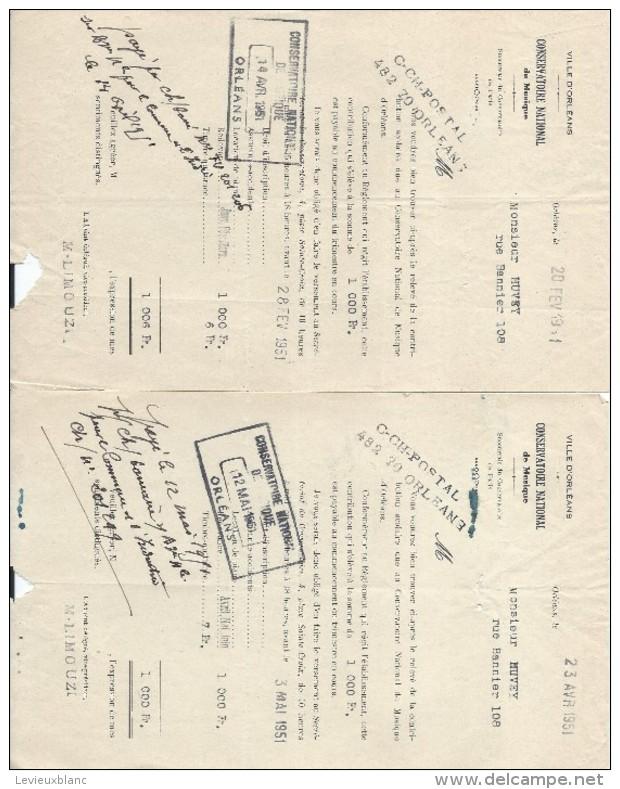 2 Relevés De Contribution Scolaire Au Conservatoire National  De Musique/ORLEANS/Huvey/1951  CAH129 - Diplômes & Bulletins Scolaires