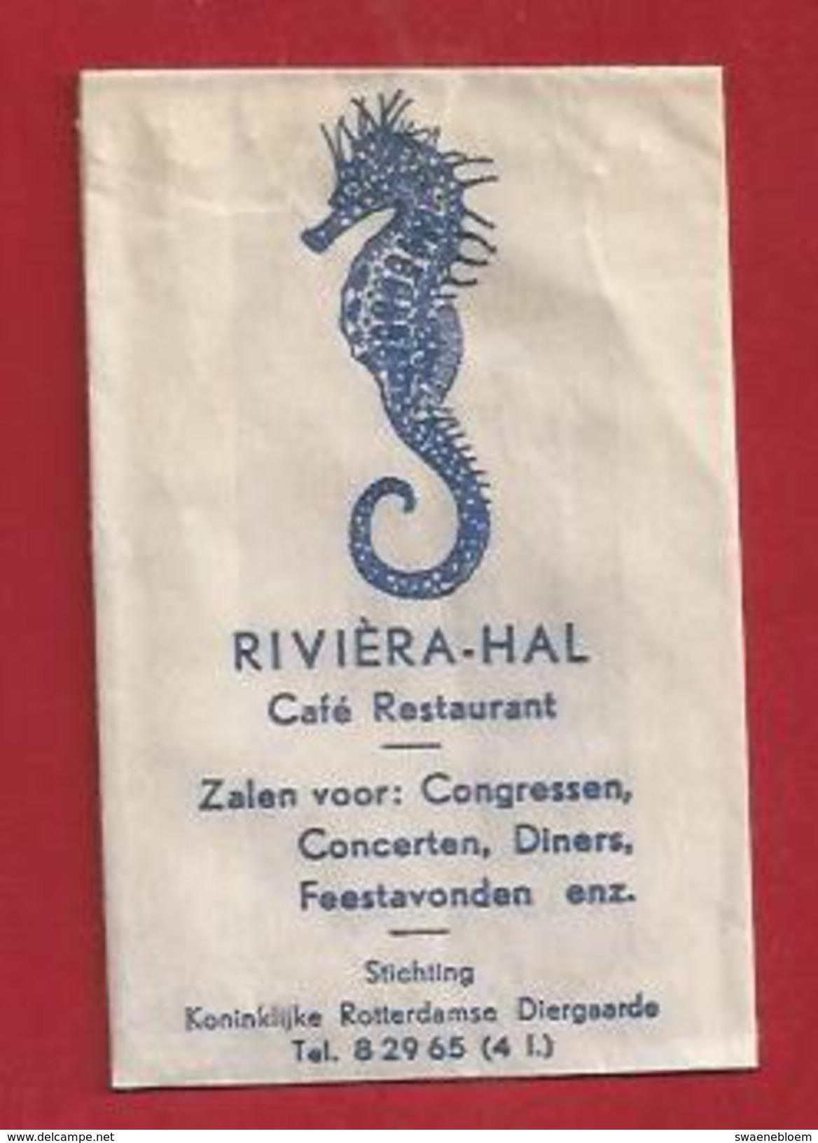 Suikerzakje.- Rotterdam Café Restaurant RIVIERA-HAL. Stokpaardje. St. Kon. Rotterdamse Diergaarde. Zucker. 2 Scans - Sucres