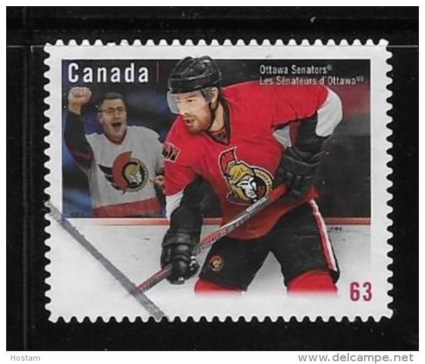 CANADA, 2013,USED  # 2673,  NHL- TEAMS JERSEYS   OTTAWA SENATORS - 1952-.... Règne D'Elizabeth II