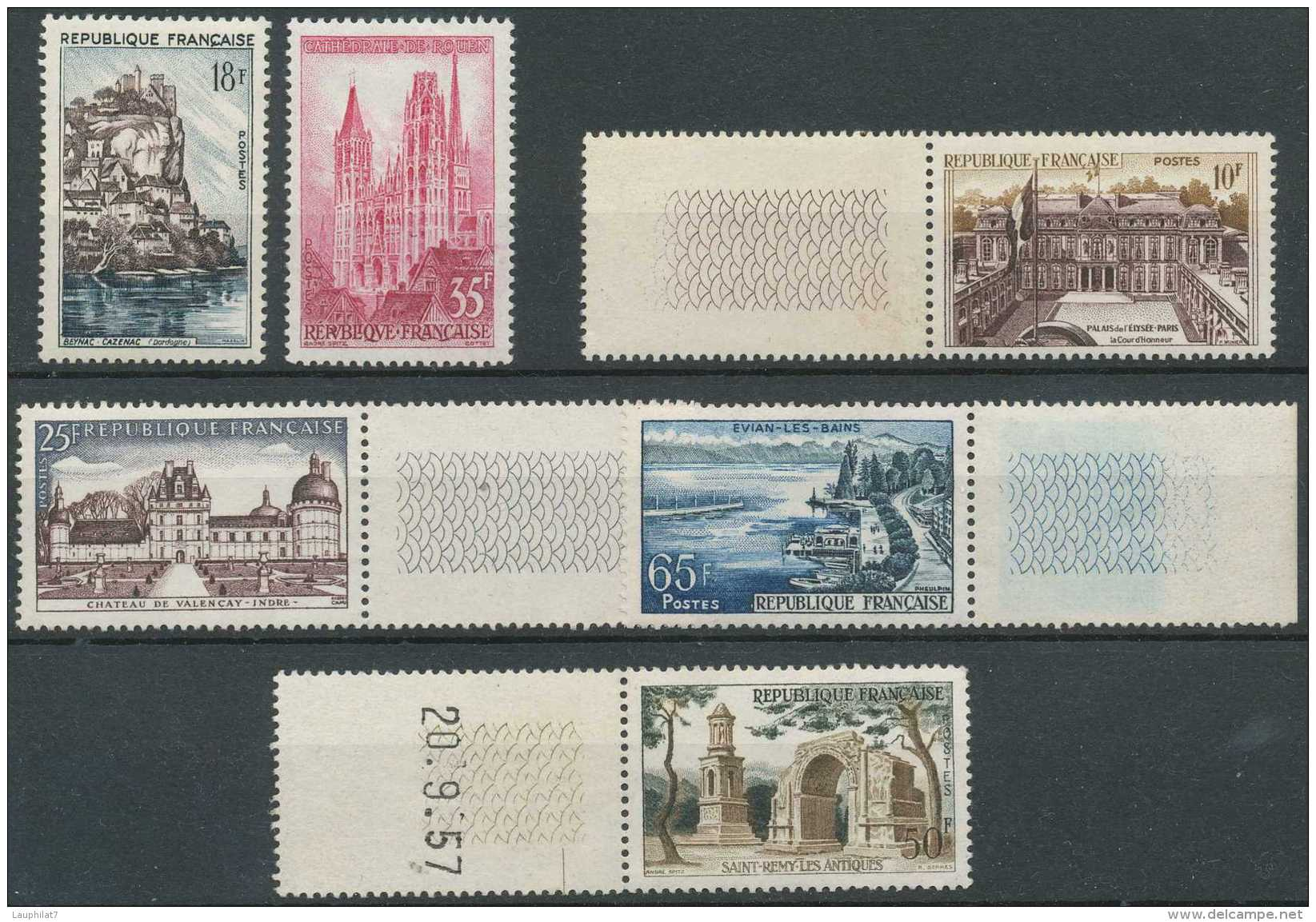 France 1957, N° 1125/31, Série Touristique, Dont Bdf, Dont Un Daté - Ongebruikt