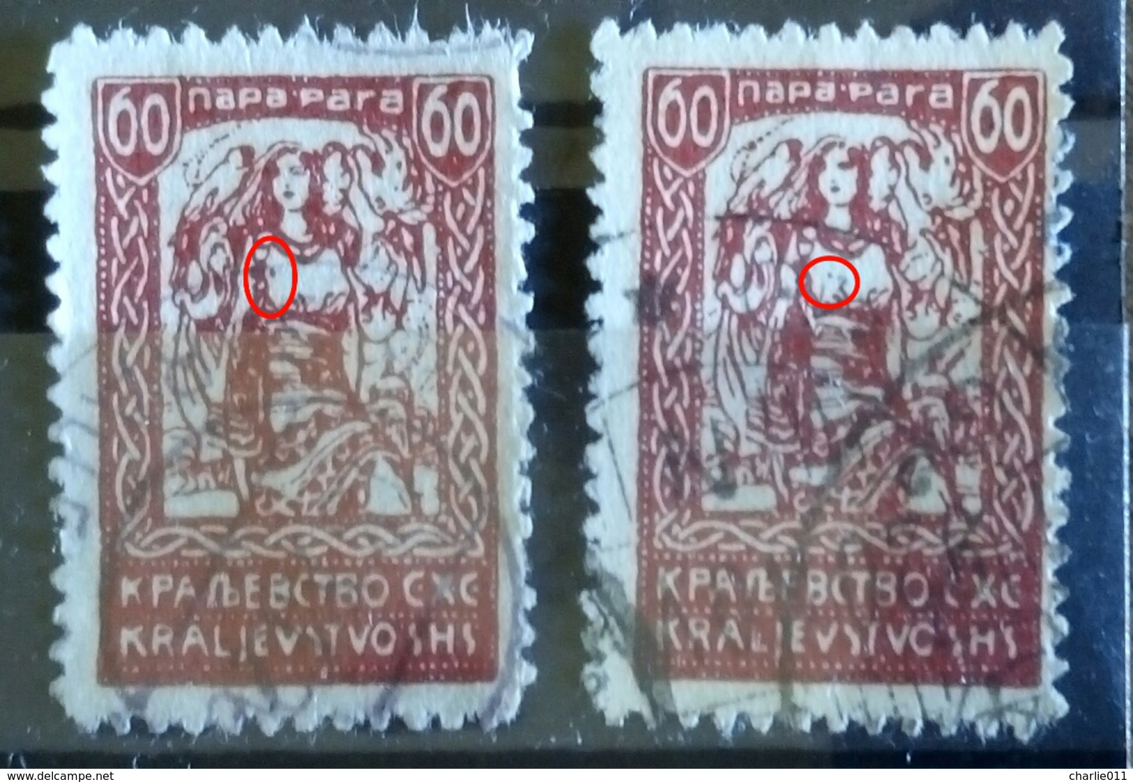 GIRL WITH FALCONS 60 P-ERROR-VARIETY-SHS-SLOVENIA-YUGOSLAVIA-1920 - Used Stamps