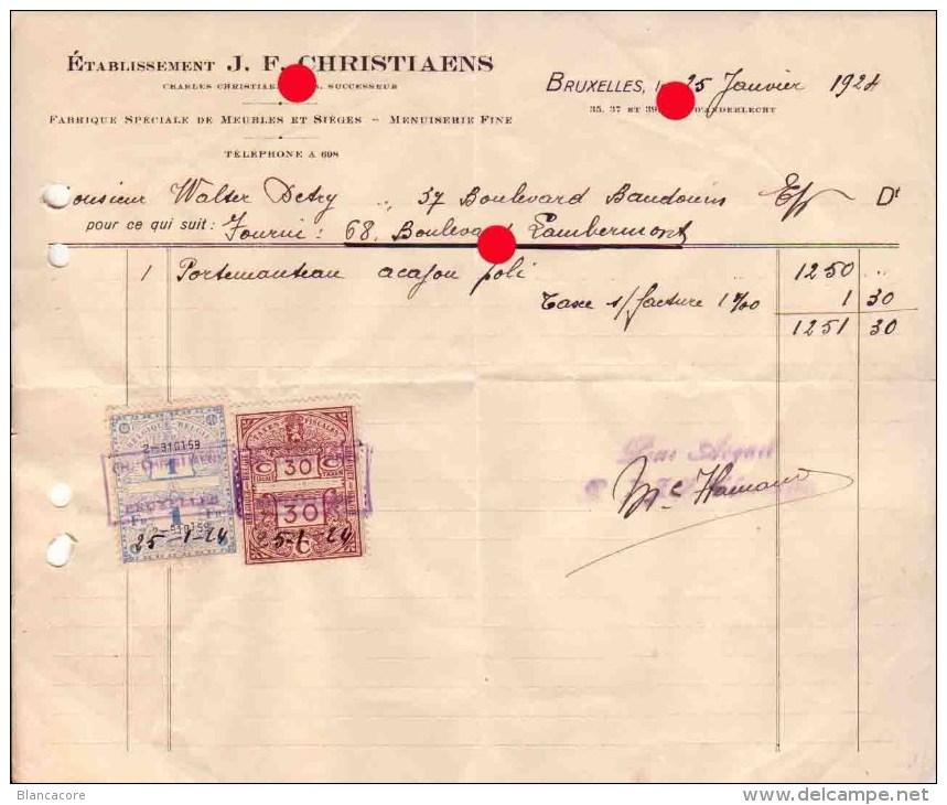 BRUXELLES  MENUISERIE  CHRISTIAENS 1924 - Belgique
