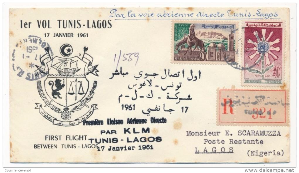 """TUNISIE - Première Liaison Aérienne Directe Par KLM """"TUNIS - LAGOS"""" - 17 Janvier 1961 - Tunisie (1956-...)"""