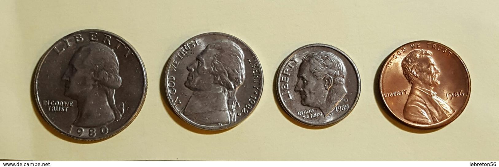 Etats Unis Quater Dollards 1980 Five Cent 1982 One Dime 1989 On Cent1986 Voir Les Deux Photos - Munten & Bankbiljetten