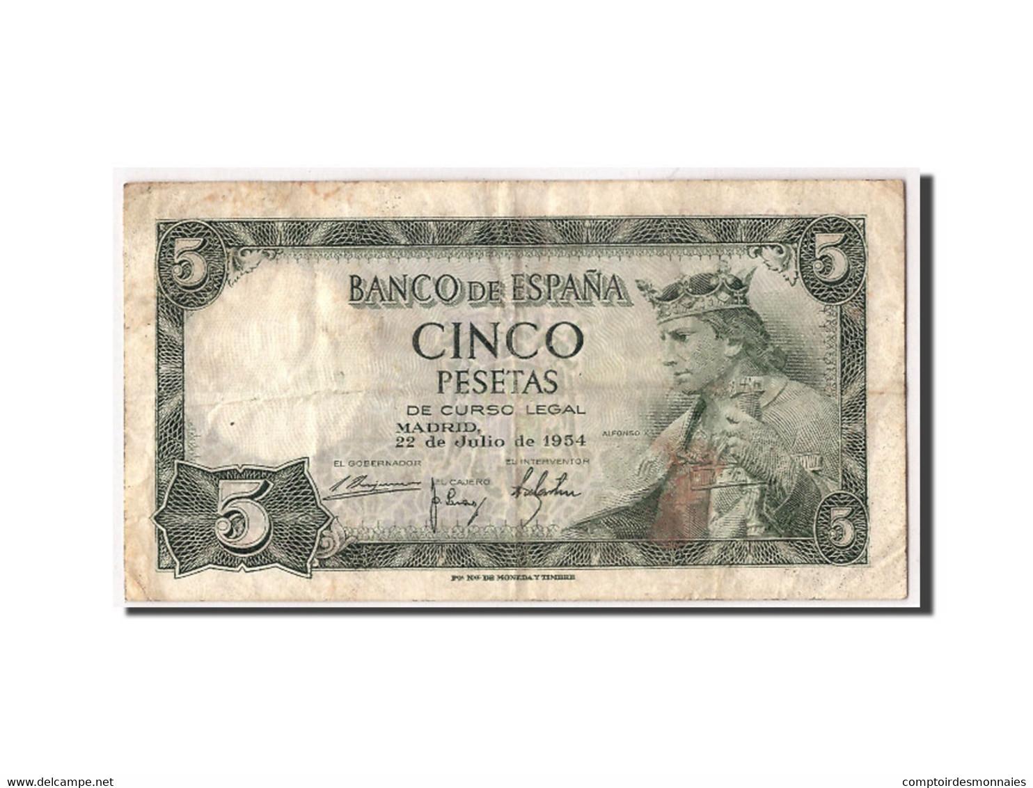 Espagne, 5 Pesetas, 1954, KM:146a, 1954-07-22, TB - [ 3] 1936-1975 : Régence De Franco