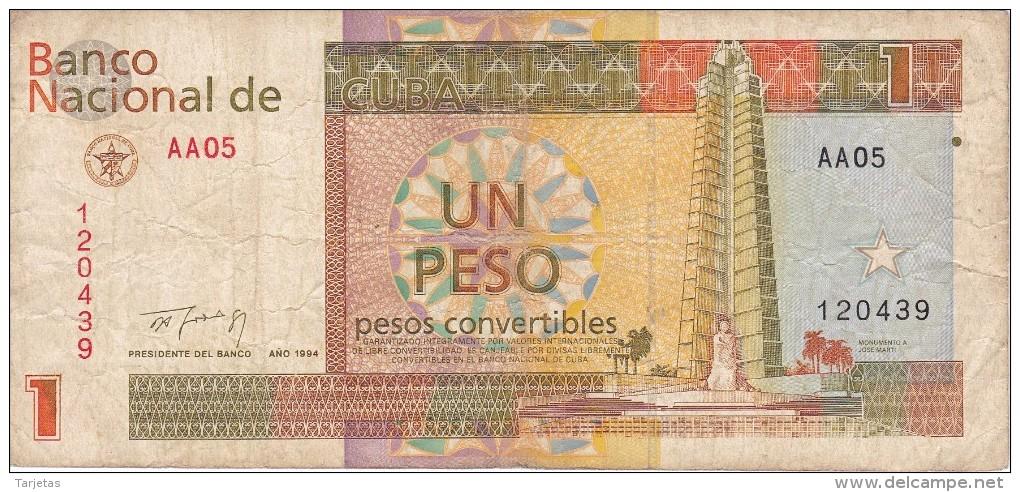 BILLETE DE CUBA DE 1 PESO CONVERTIBLE DEL AÑO 1994  (BANKNOTE) - Cuba