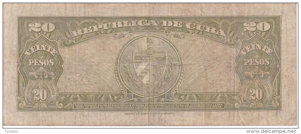 BILLETE DE CUBA DE 20 PESOS  DEL AÑO 1949    (BANKNOTE-BANK NOTE) ANTONIO MACEO - Cuba