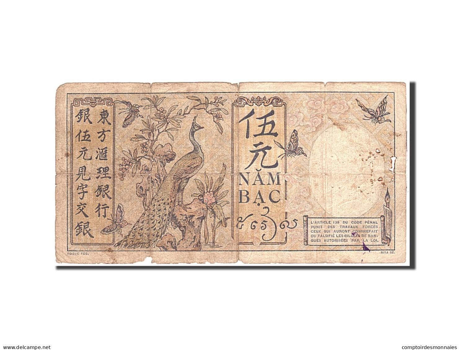 FRENCH INDO-CHINA, 5 Piastres, 1927, Undated, KM:49b, TB - Indochine
