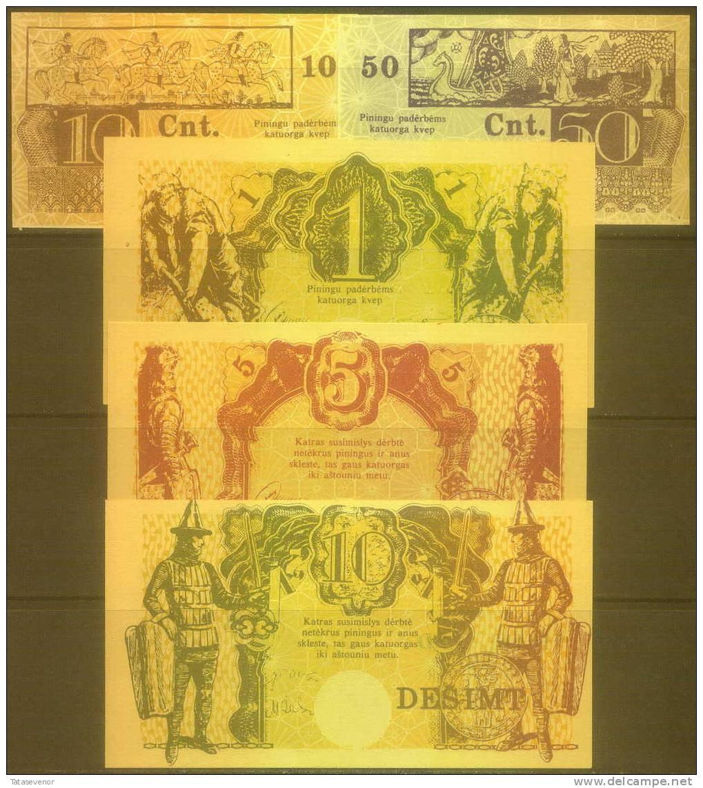 Lithuania Local Samogittian Currency Set 10 C, 50 C, 1L, 5 L, 10 L, PNL, 1989, UNC - Lituanie