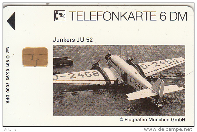 GERMANY(chip) - Junkers JU 52(O 981), Tirage 7000, 05/93, Used - Vliegtuigen