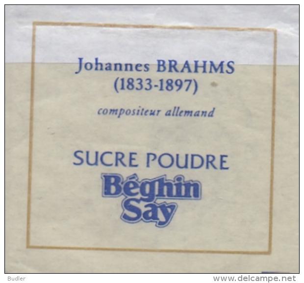 FRANCE : Suikerzakje/Sachet De Sucre/Sugar Package: MUSIC,COMPOSER,COMPOSITEUR, ## Johannes BRAHMS (1833-97) ## - Sucres