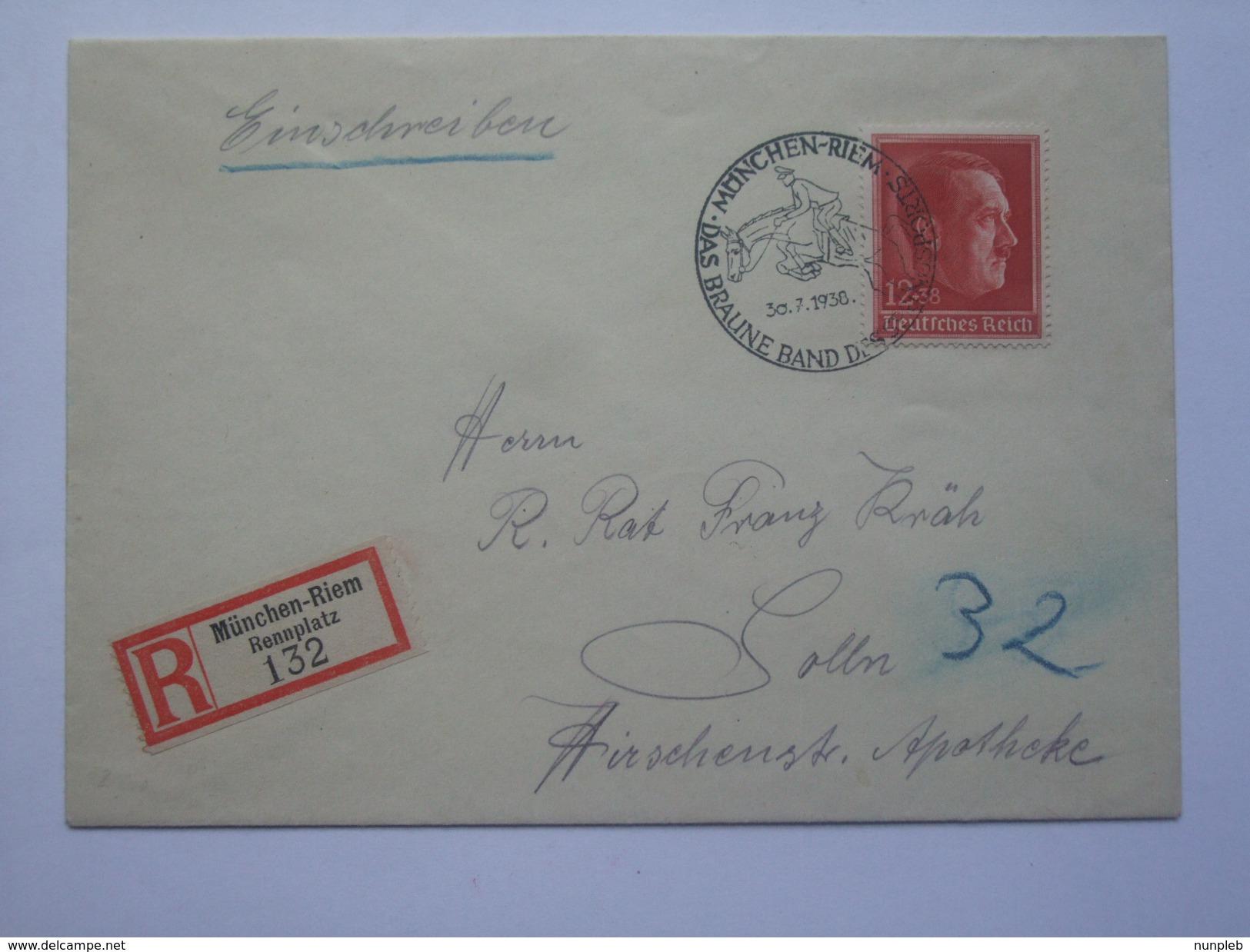 GERMANY 1938 COVER REGISTERED MUNCHEN-RIEM MIT MUNCHEN-RIEM DAS BRAUNE BAND SONDERSTEMPEL TIED WITH SG 652 - Allemagne