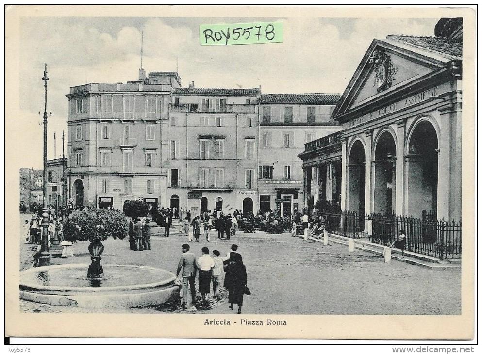 Lazio-roma-ariccia Piazza Roma Veduta Animatissima Anni 30/40 - Italia