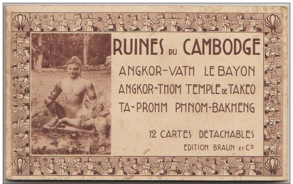 CARNET 12 CPA CAMBODGE CAMBODIA Ruines Angkor Vath - Cambodia