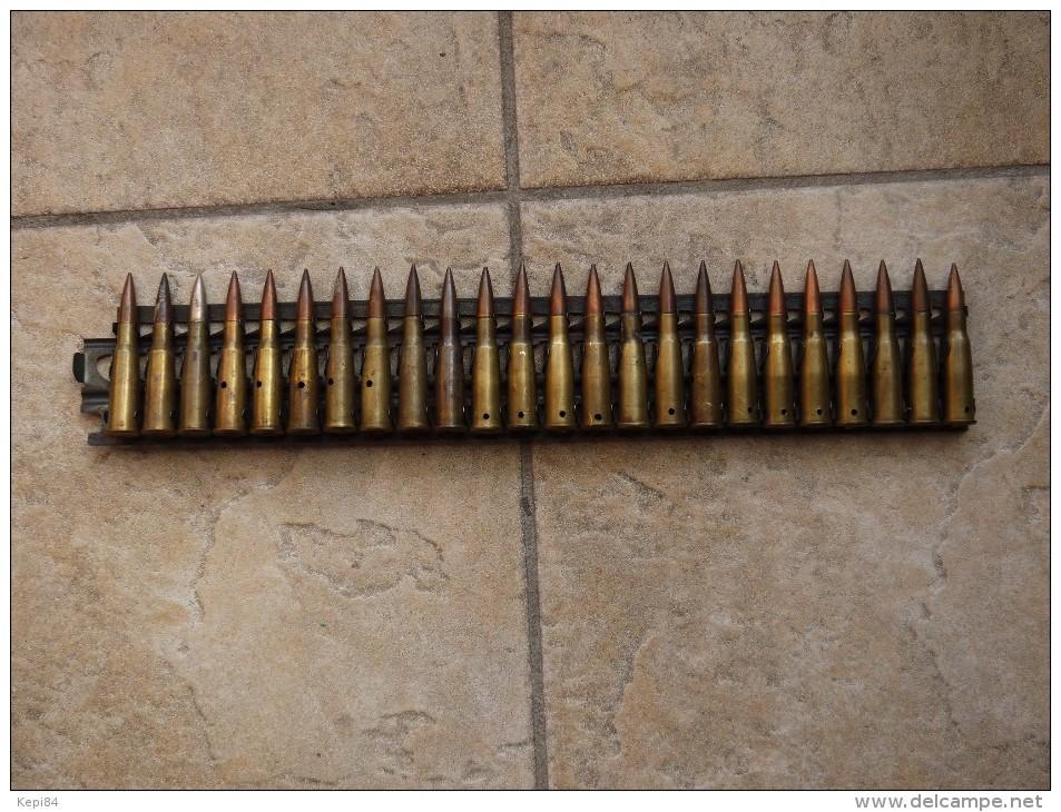 Bande Métallique Mitrailleuse Hotchkiss Avec 24 Cartouches Neutralisées - Armes Neutralisées