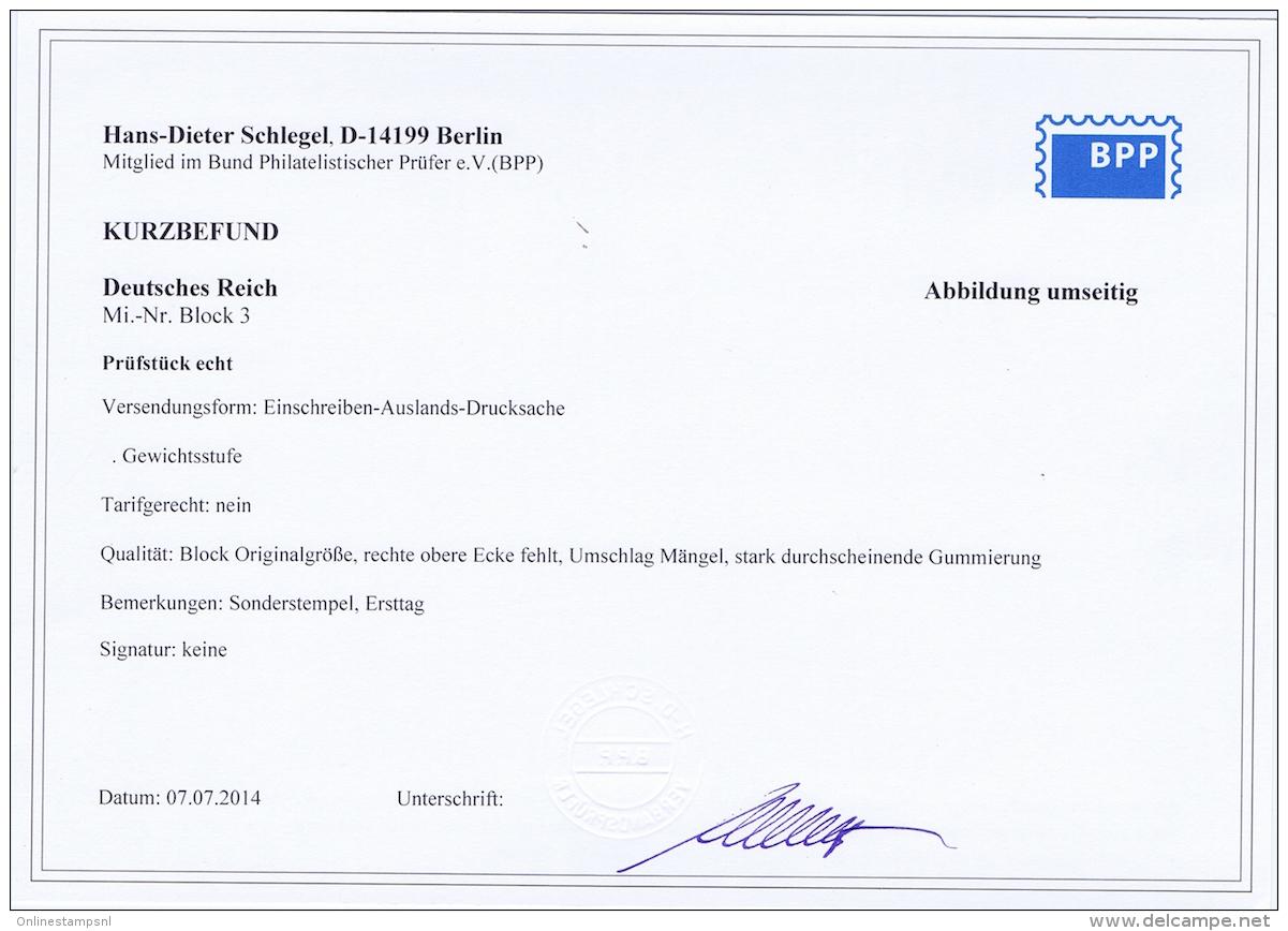 Deutsches Reich 1935 Ostropa Mi Bl Nr 3 With Cert. BPP Schlegel Ersttag Stempel  Einschreiben  Brief  Paris CV  1500 - Deutschland
