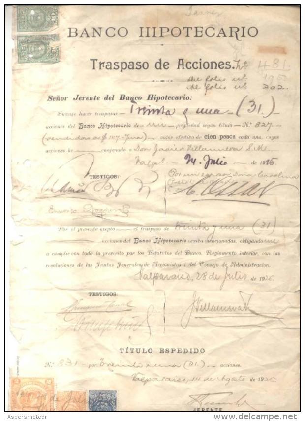 TRASPASO DE ACCIONES - CHILE CHILI - AÑO 1925 CON TIMBRES FISCALES - Chile