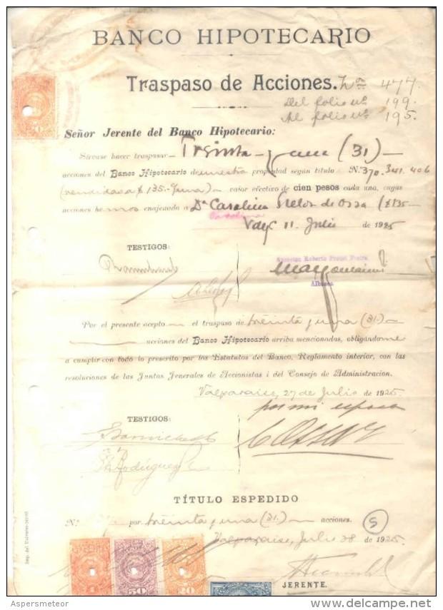 TRASPASO DE ACCIONES - CHILE CHILI - AÑO 1925 CON TIMBRES FISCALES SHAREHOLDING TITULOS VALORES - Chile
