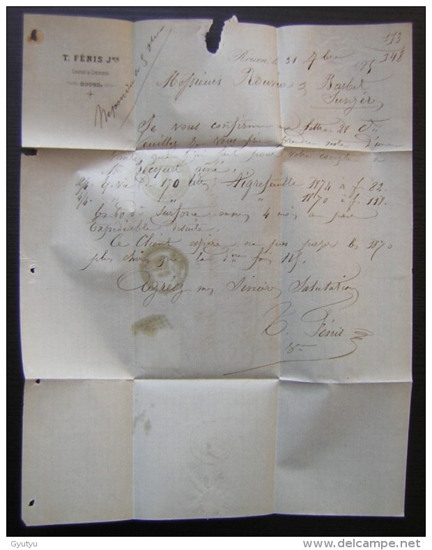Rouen 1875 Lettre De Fenis , Courtier Pour Surgères - Marcophilie (Lettres)