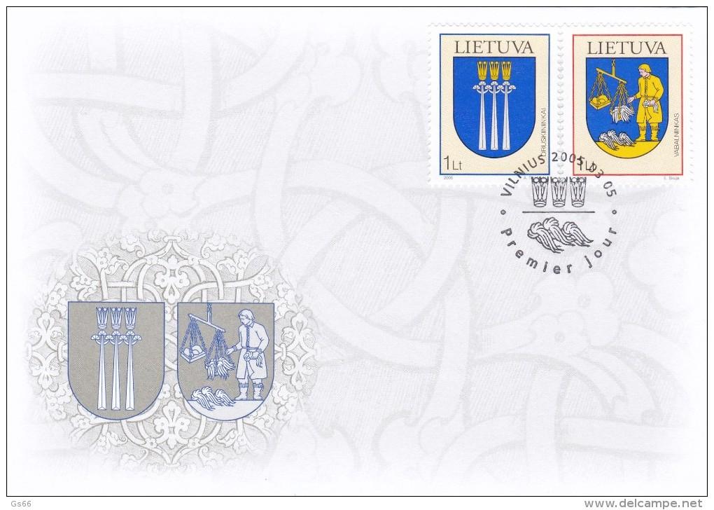 Litauen, 2005, 869/70, Stadtwappen (XIV). FDC - Lithuania