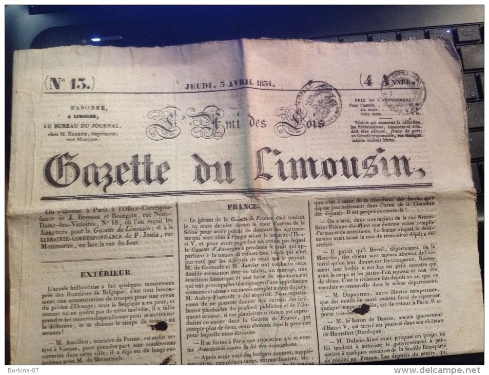 LA GAZETTE DU LIMOUSIN , JEUDI 5 AVRIL1834, Gazette Locale Et  Nationale - Revues & Journaux