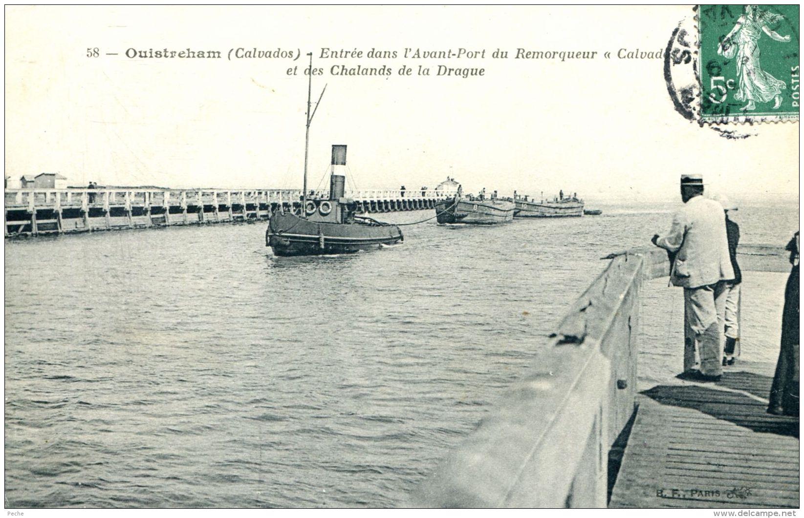 """N°366 K -cpa Ouistreham -remorqueur """"calvados"""" - Remorqueurs"""