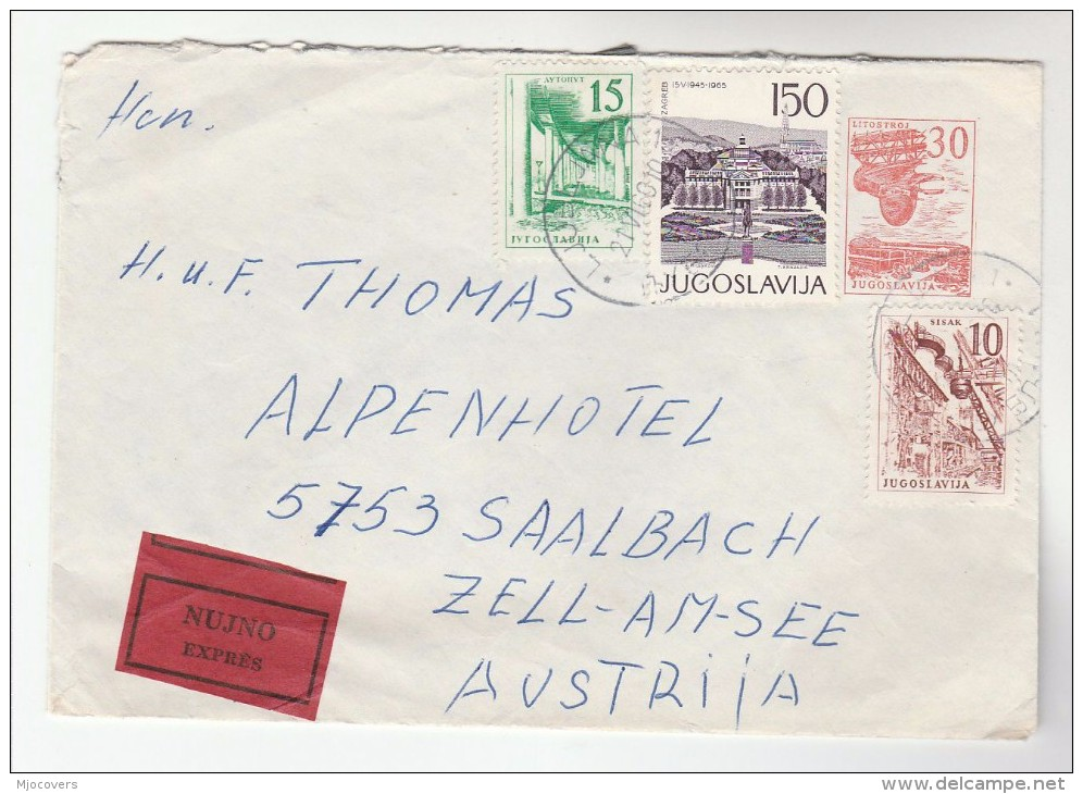 1969 EXPRESS YUGOSLAVIA Stamps On UPRATED Postal STATIONERY COVER To Saalbach AUSTRIA, Express Label - 1945-1992 Sozialistische Föderative Republik Jugoslawien