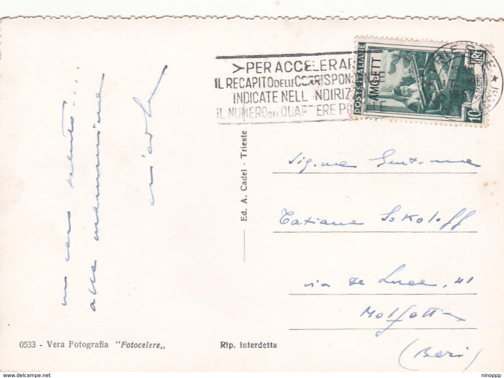 Italy, Trieste 1952  10 Lire Workers  Used On Postcard $ 8.00 - 7. Trieste