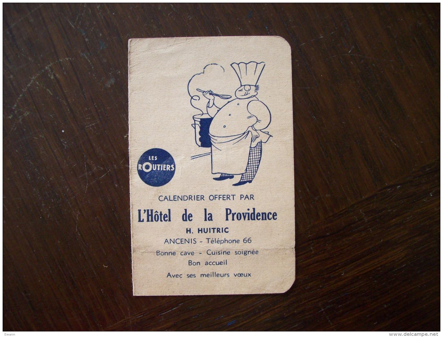 """Calendrier 1954 Publicitaire  """"Hôtel De La Providence"""" à Ancenis - Calendriers"""