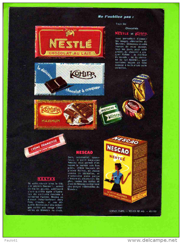 PROTEGE CAHIER : Les Merveilles Du Monde Editée Par Les Chocolats NESTLE - Protège-cahiers