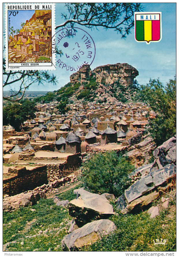 D26435 CARTE MAXIMUM CARD RR 1975 MALI - HOUSES VILLAGE OF DOGON REGION BANDIAGARA CP ORIGINAL - Architecture