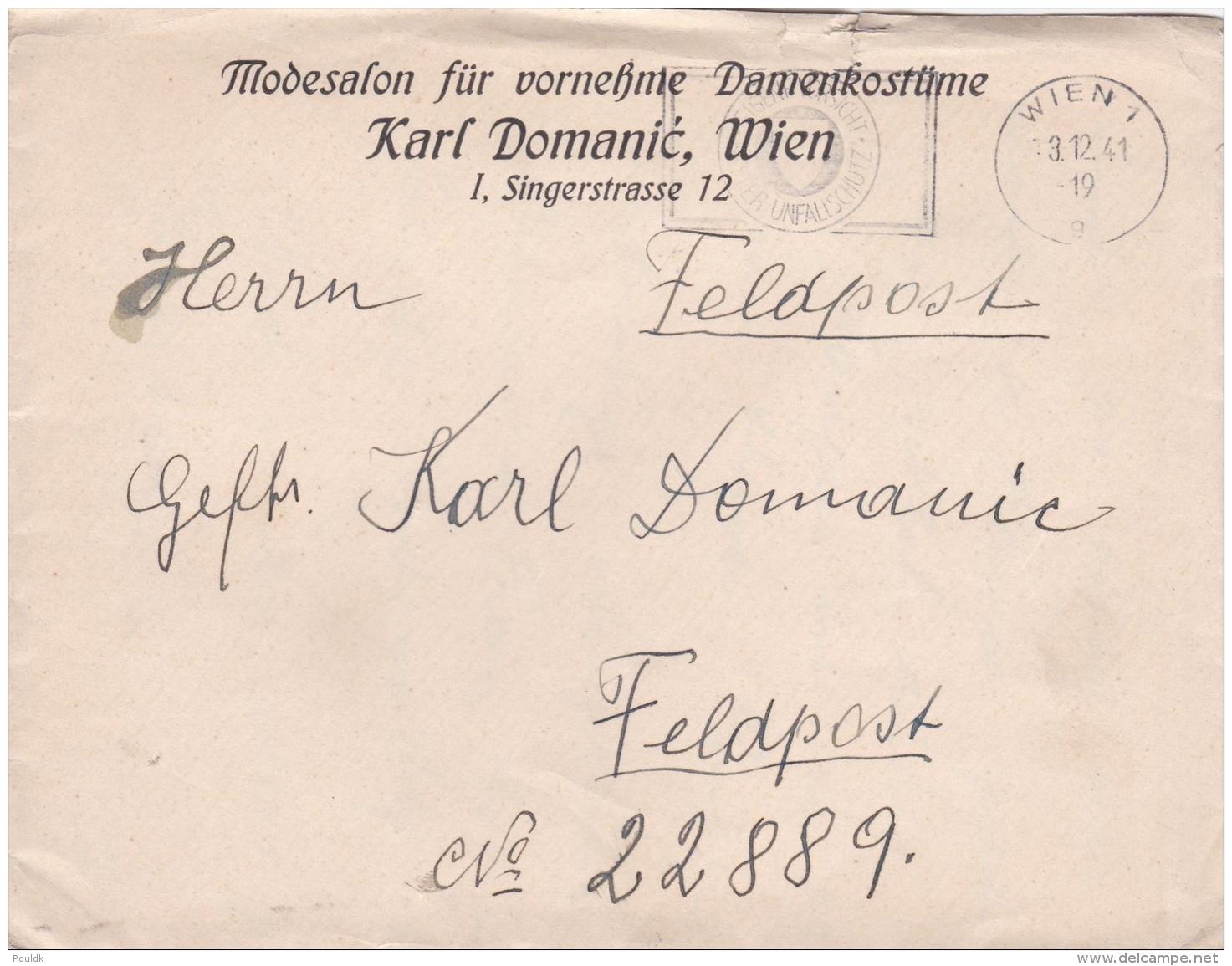 Feldpost WW2: To Mitrovica In Kosovo - Ortskommandantur (I) 861 FP 22889 P/m Wien 1 3.12.1941 - Letter Inside Also On St - Militaria