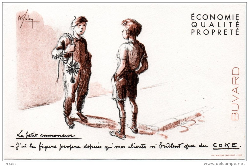 Buvard Coke, Charbon. Le Petit Ramoneur. - Buvards, Protège-cahiers Illustrés