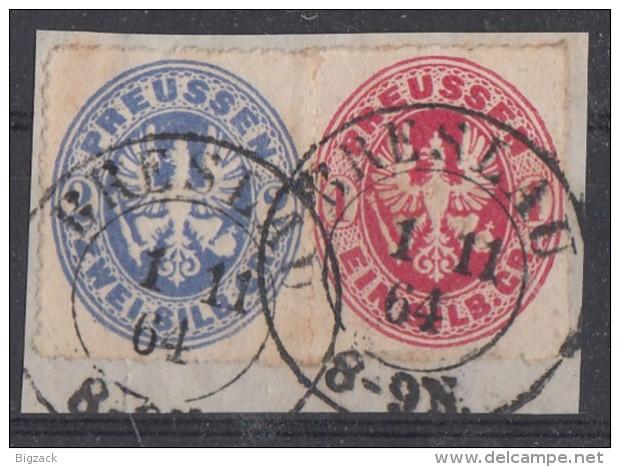 Preussen Briefstück Minr.16, 17 K2 Breslau 1.11.64 - Preussen