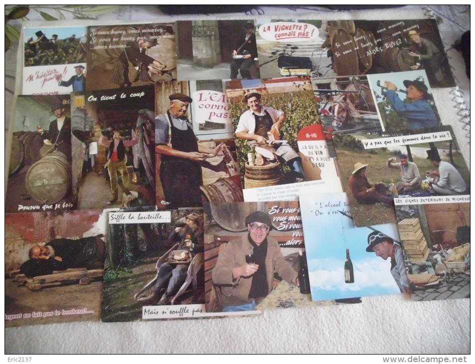 LOT DE 16 CARTES HUMORISTIQUES ..VINS ..ALCOOL..TONNEAUX .. - 5 - 99 Postcards