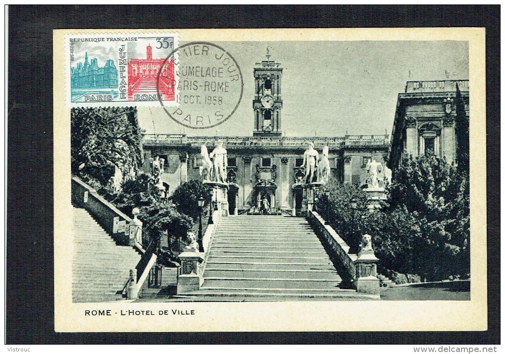 Y/T N° 1176  Sur  Carte-Maximum - Jumelage Paris-Rome (2) - 11/OCT/1958. - 1950-59