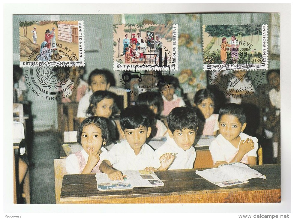 1986 UN - JOINT ISSUE FDC (Maximum Card) GENEVE - NY - VIENNA Stamps UNDP United Nations Cover Education School - Joint Issues