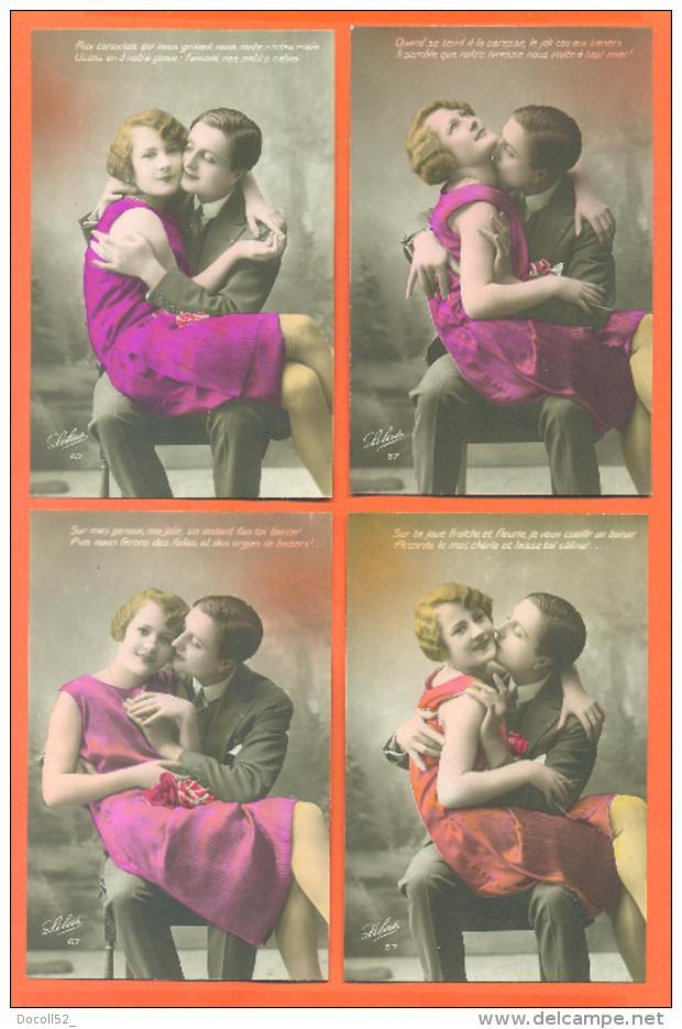"""Suite De 4 CPA Romantiques """" Couple Enlassé , Femme Robe Rouge """" - Couples"""