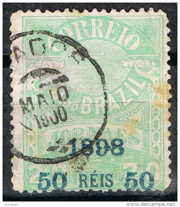 Sello 50 Reis Sobre 20, Jornaes BRASIL 1898, Yvert Num 102 º - Usados